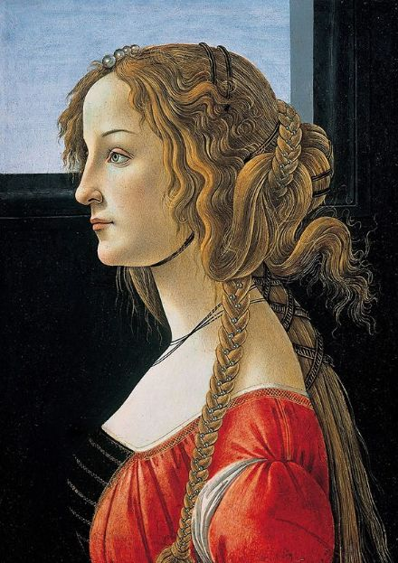 Botticelli, Sandro: Portrait of a Young Woman. Fine Art Print/Poster. Sizes: A4/A3/A2/A1 (001884)